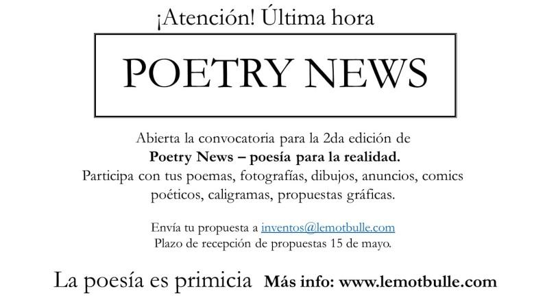 Convocatoria POETRY NEWS